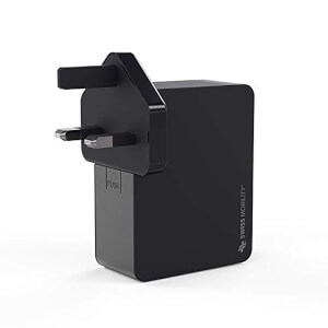 Swiss Mobility 4-Port 4.8A Multi Device Wall Charger with Worldwide Plugs - Black