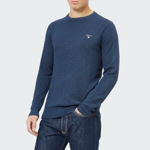 GANT Men's Cotton Pique Crew Neck Jumper - Dark Jeans Blue