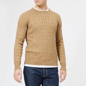 GANT Men's Cotton Cable Crew Knitted Jumper - Dark Sand Melange