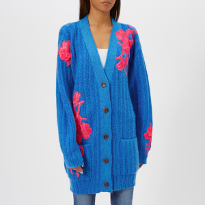 Christopher Kane Women's Flower Embroidery Cardigan - Neon Blue