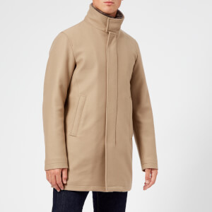 Herno Men's Beaver Fur Collar Over Coat - Light Brown