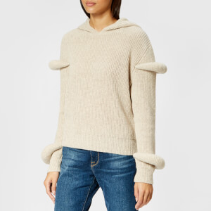 JW Anderson Women's Rib Knitted Hoody with Sleeves Puff - Desert