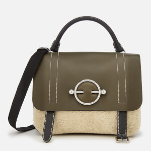 JW Anderson Women's Disc Satchel with Shearling Panel - Khaki