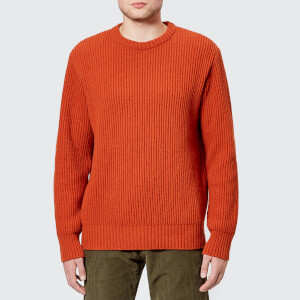 Universal Works Men's Fisherman Rib Crew Knit Jumper - Orange