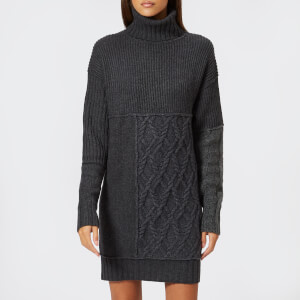 McQ Alexander McQueen Women's Patched Cable Roll Jumper - Grey Mix
