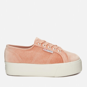 Superga Women's 2790-Velvet Chenille Flatform Trainers - Pink Dusty Coral