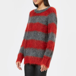 T by Alexander Wang Women's Mohair Stripe Pullover Jumper - Grey/Lipstick Stripe