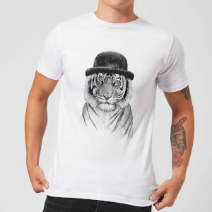 Tiger In A Hat Men's T-Shirt - White
