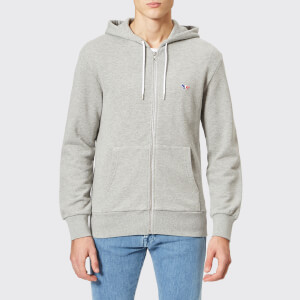 Maison Kitsuné Men's Tricolor Fox Patch Zip Hoody - Grey Melange