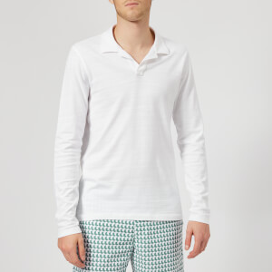 Orlebar Brown Men's Felix Long Sleeve Slub Polo Shirt - White