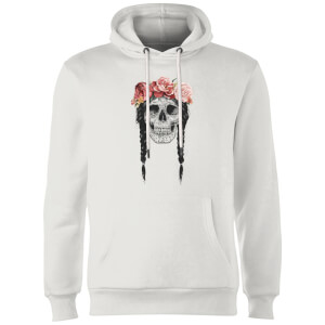 Balazs Solti Skull And Flowers Hoodie - White