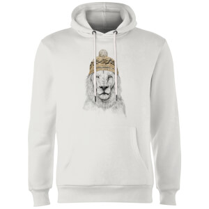 Lion With Hat Hoodie - White