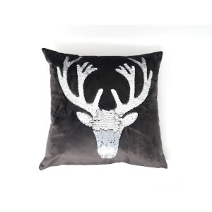 Catherine Lansfield Sequin Stag Cushion - 43 x 43 - Grey