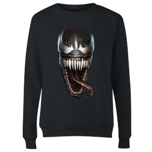 Venom Face Photographic Women's Sweatshirt - Black