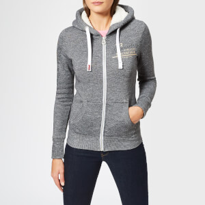 Superdry Women's Track & Field Borg Zip Hoodie - Black Noire Grindle