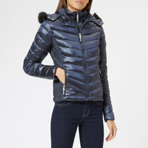 Superdry Women's Hooded Luxe Chevron Fuji Jacket - Navy Tanzanite