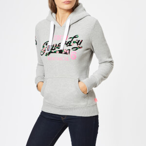 Superdry Women's Heritage Flock Entry Hoodie - Grey Marl