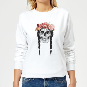 Skull And Flowers Women's Sweatshirt - White