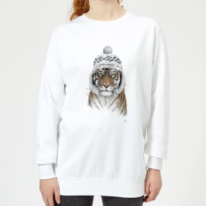Winter Tiger Women's Sweatshirt - White