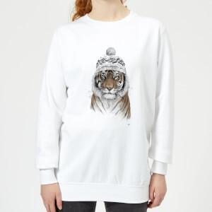 Winter Tiger Women's Sweatshirt - White