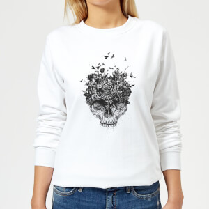 Skulls And Flowers Women's Sweatshirt - White