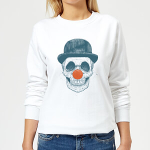 Red Nosed Skull Women's Sweatshirt - White