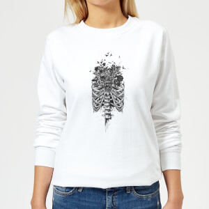 Ribcage And Flowers Women's Sweatshirt - White