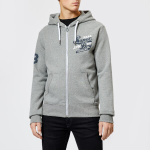 Superdry Men's Trademark Zip Hood Hoody - Podium Mid Grey Grit