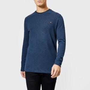 Superdry Men's Orange Label Textured Long Sleeve Top - Navy Marl