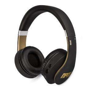 Veho NPNG NP2 Bluetooth Wireless Flex Anti-Tangle Cable Headphones (Includes Controls and Mic) - Black/Gold
