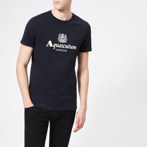 Aquascutum Men's Griffin Crew Neck Logo Short Sleeve T-Shirt - Navy
