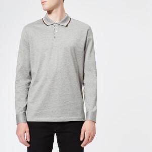 Aquascutum Men's Bert Vicuna Tipping Long Sleeve Polo Shirt - Grey Melange