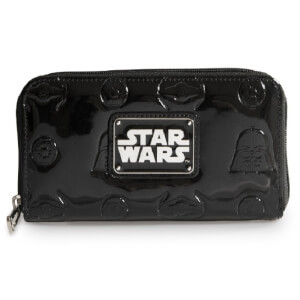 Loungefly Star Wars Darth Vader Darkside Black Patent Zip Wallet