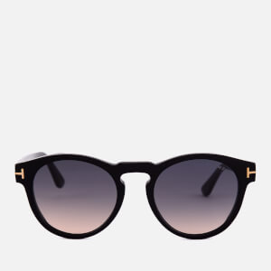Tom Ford Men's Round Frame Sunglasses - Shiny Black/Gradient Smoke