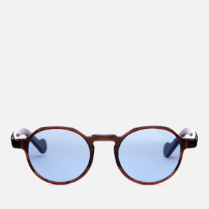 Moncler Men's Round Frame Sunglasses - Dark Brown/Other/Blue