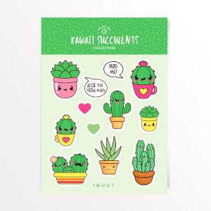 Kawaii Succulents Sticker Pack