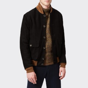 Oliver Spencer Men's Gandy Suede Bomber Jacket - Black