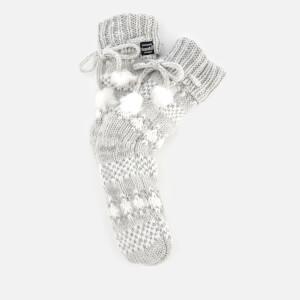 Superdry Women's Sparkle Fairisle Slipper Socks - Grey/Silver