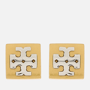 Tory Burch Women's Block-T Logo Stud Earrings - Tory Gold/Silver