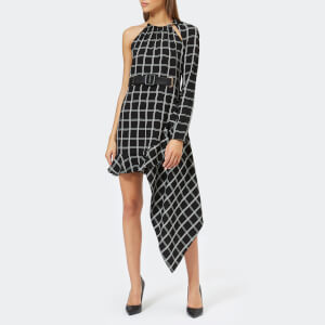 Self-Portrait Women's Asymmetric Check Dress - Navy