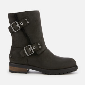 UGG Women's Niels II Water Resistant Leather Biker Boots - Black