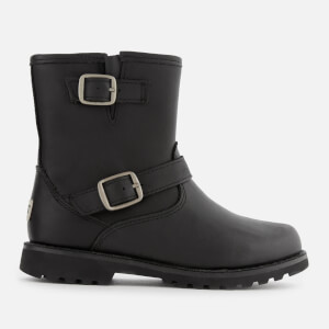 UGG Kid's Harwell Water Resistant Leather Biker Boots - Black