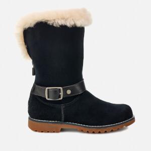 UGG Kid's Nessa Suede Buckle Boots - Black