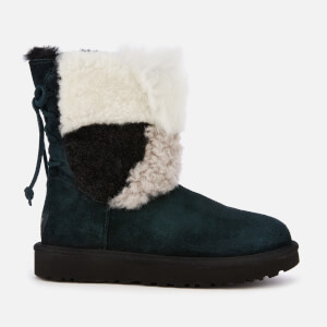 UGG Women's Classic Short Patchwork Fur Sheepskin Boots - Black