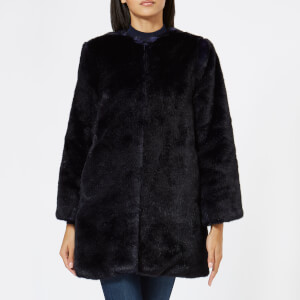 MICHAEL MICHAEL KORS Women's Long Faux Fur Coat - Navy