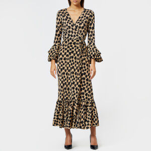 Diane von Furstenberg Women's Ruffle Sleeve Wrap Dress - Henlow Birch