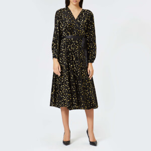 Diane von Furstenberg Women's Animal Devore Wrap Dress - Black/Gold