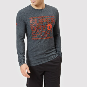 Superdry Sport Men's Core Long Sleeve Graphic Top - Black/White