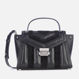 MICHAEL MICHAEL KORS Women's Whitney Snake Suede Leather Mix Medium Satchel - Black