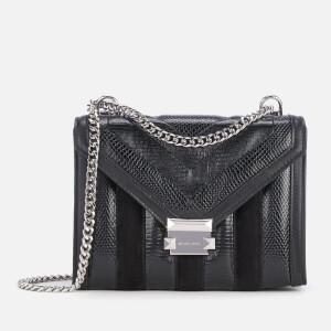 MICHAEL MICHAEL KORS Women's Whitney Snake Suede Leather Mix Large Shoulder Bag - Black